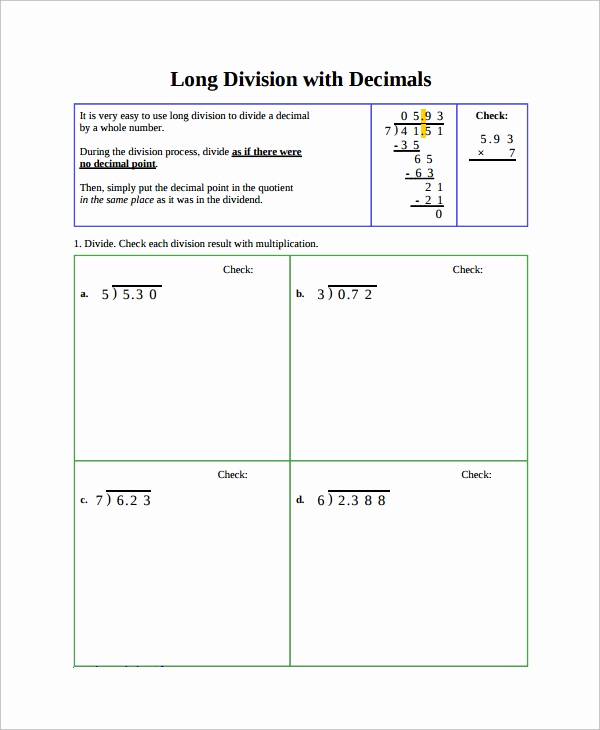 Decimal Long Division Worksheet Awesome Free 9 Sample Long Division Worksheet Templates In Ms