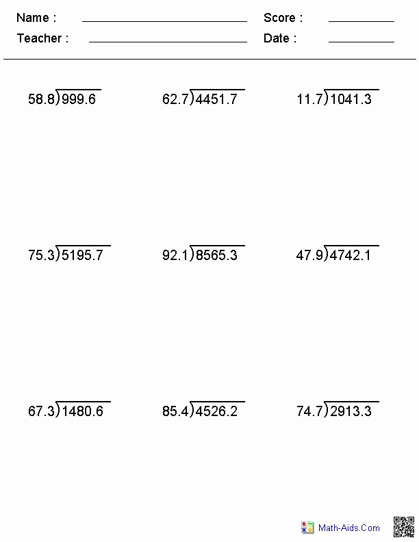 Decimal Long Division Worksheet Beautiful Division Worksheets