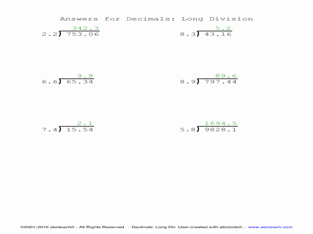 Decimal Long Division Worksheet Beautiful Long Division Collection