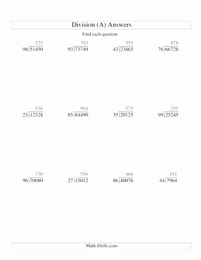 Decimal Long Division Worksheet Elegant Division Worksheets with Remainders as Decimals