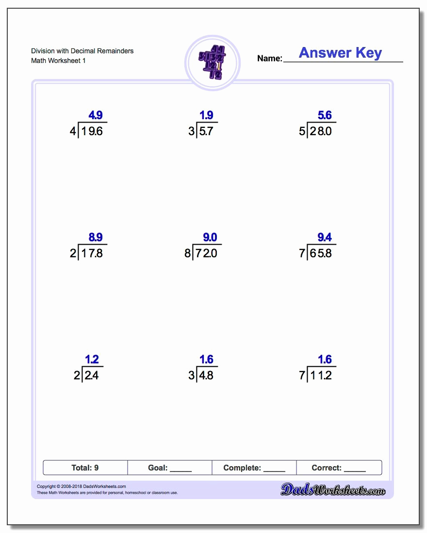 Decimal Long Division Worksheet New Long Division Worksheets