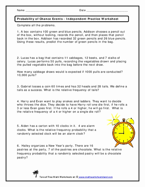 Dependent Probability Worksheets Lovely Probability Of Chance events Independent Practice