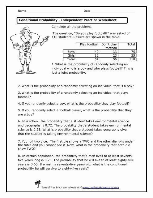 Dependent Probability Worksheets Luxury Conditional Probability Worksheet In 2020