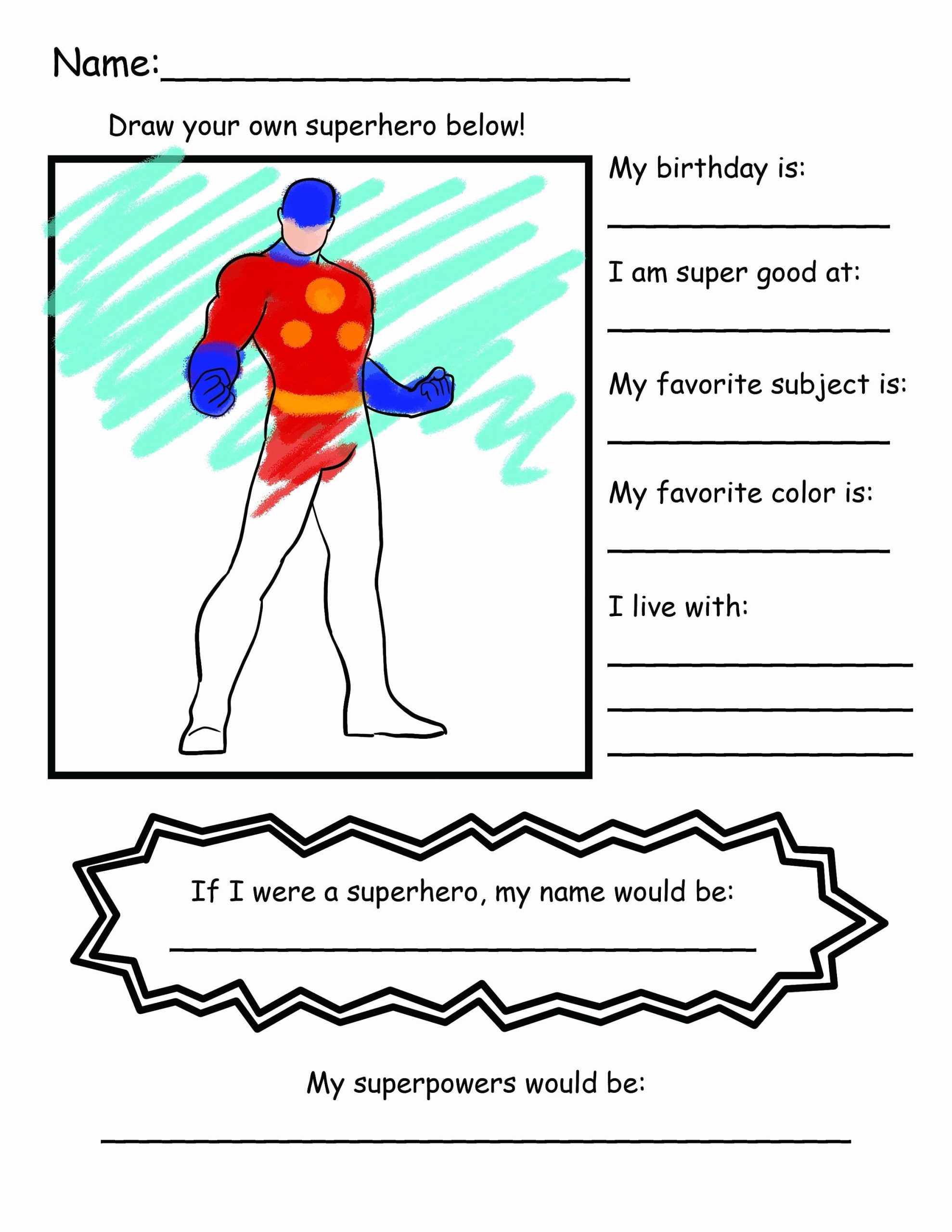 Design Your Own Superhero Worksheet Beautiful Back to School Superhero Get to Know You Coloring