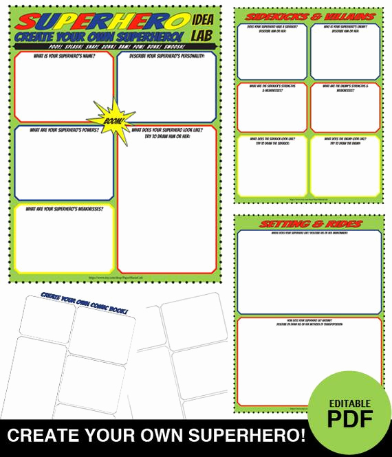 Design Your Own Superhero Worksheet Best Of Items Similar to Superhero Idea Lab Worksheet Set Create