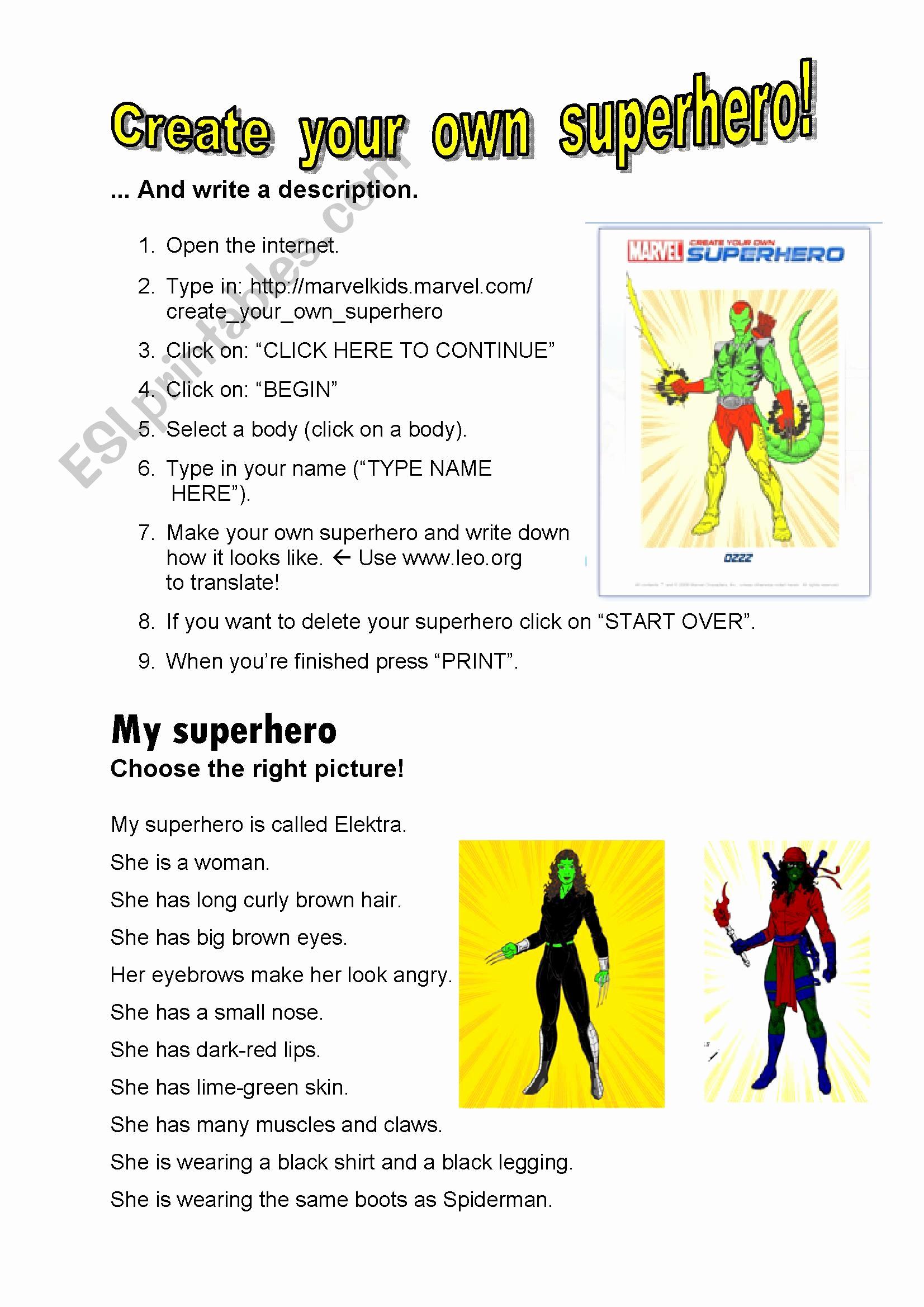 Design Your Own Superhero Worksheet Lovely English Worksheets Create Your Own Superhero Key