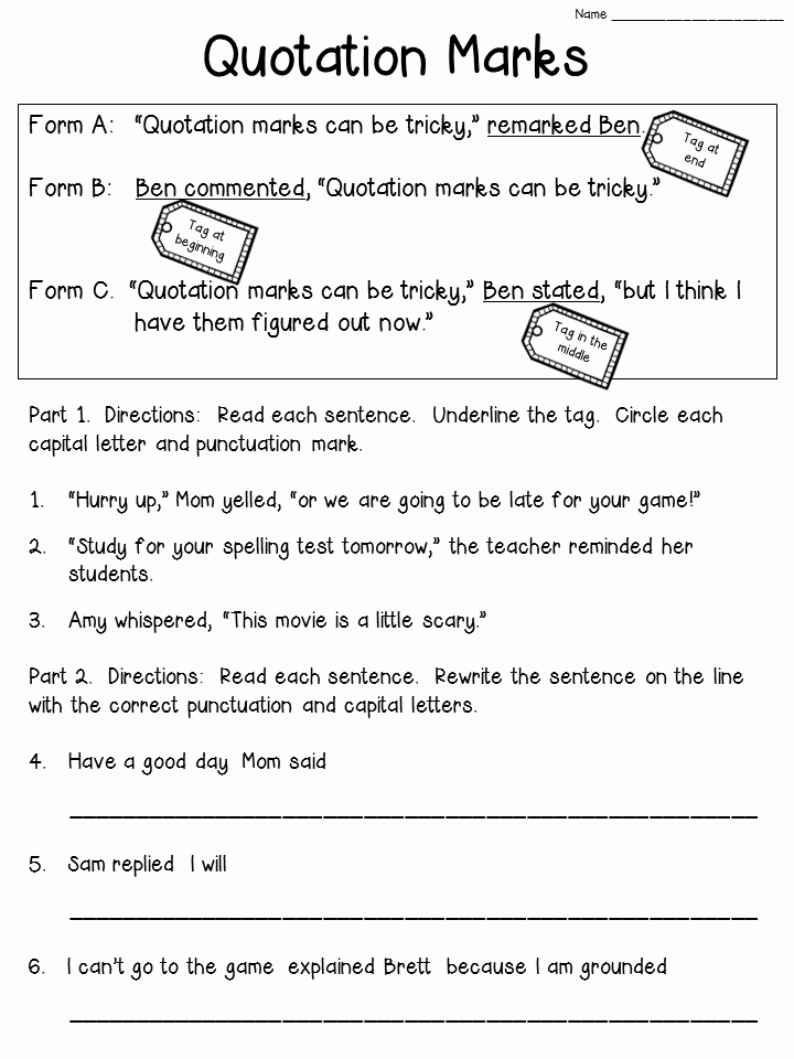 Dialogue Worksheets 4th Grade Awesome Quotation Marks Anchor Chart with Freebie