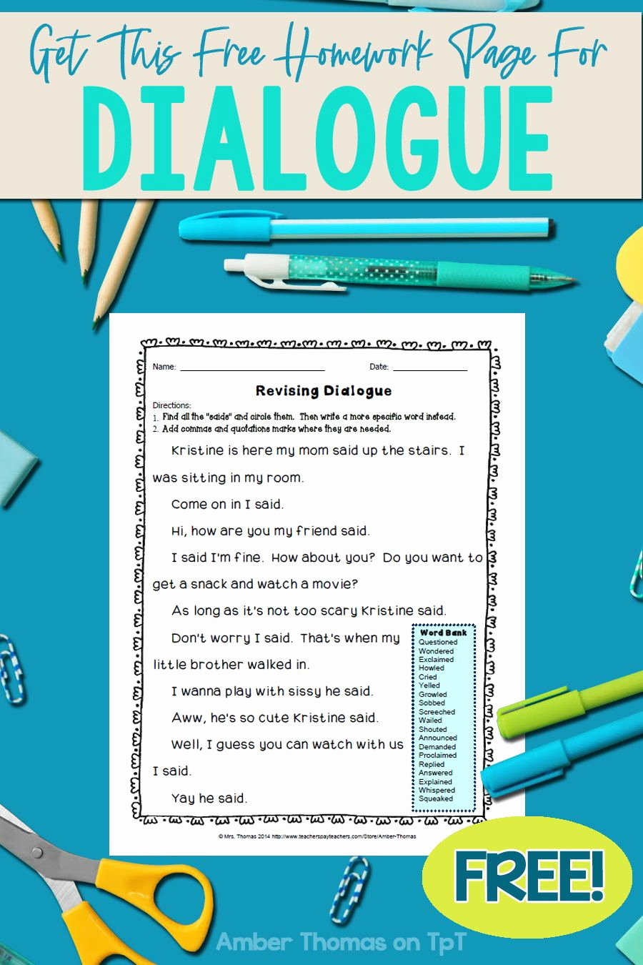 Dialogue Worksheets 4th Grade New Pin On Narrative Writing for Fourth Grade