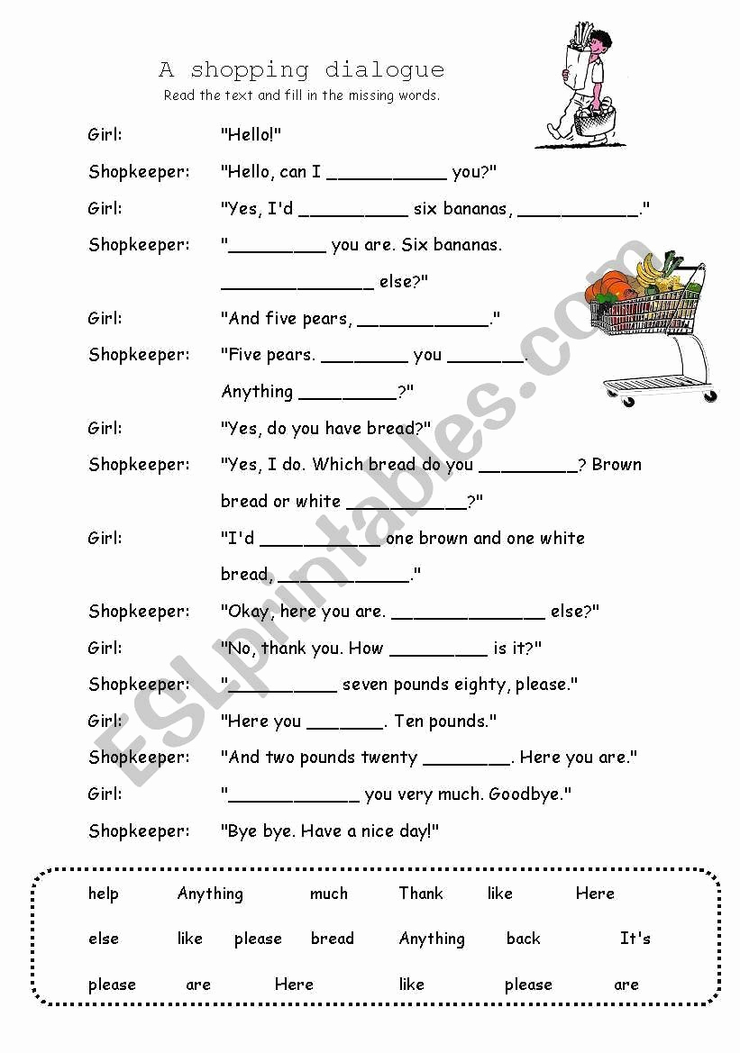 Dialogue Worksheets Middle School Awesome Dialogue Worksheets 3rd Grade A Shopping Dialogue Esl