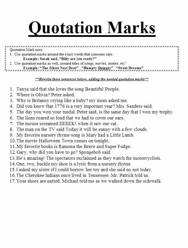 Dialogue Worksheets Middle School Lovely Dialogue Worksheets Middle School Quotation Marks