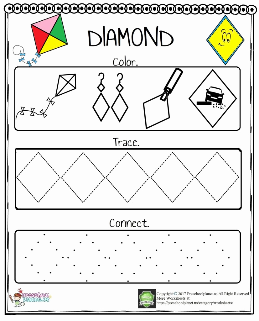 Diamond Worksheets for Preschool Awesome Diamond Worksheet – Preschoolplanet