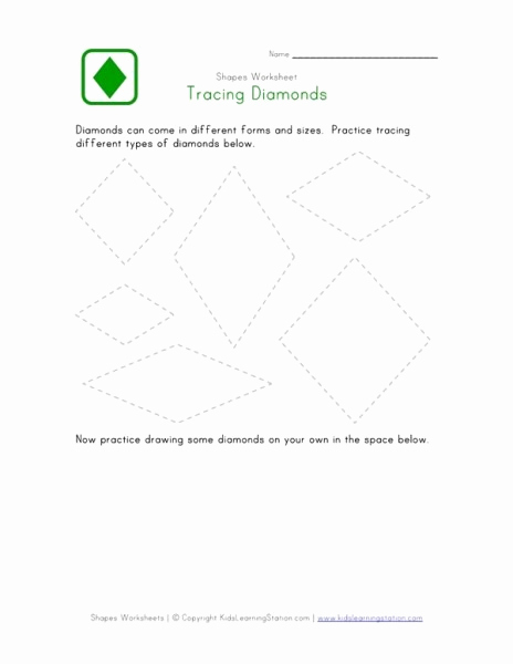 Diamond Worksheets for Preschool Awesome Traceable Diamond Shape Worksheet – Worksheets Samples