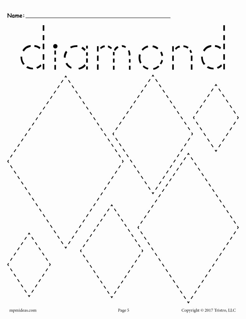 Diamond Worksheets for Preschool Luxury Diamonds Tracing Worksheet Tracing Shapes Worksheets