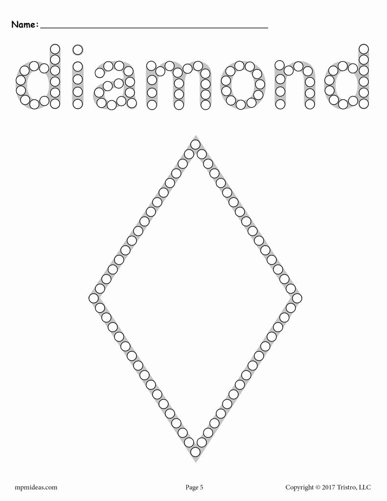 Diamond Worksheets for Preschool Unique Diamond Q Tip Painting Printable Diamond Worksheet
