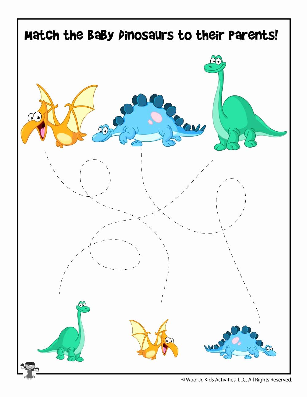 Dinosaur Worksheets for Kindergarten Beautiful Easy Dinosaur Tracing Matching Worksheet