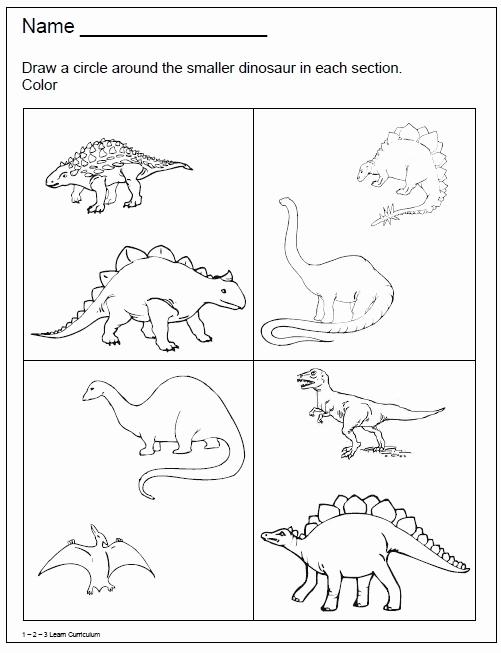 Dinosaur Worksheets for Kindergarten Best Of 1 2 3 Learn Curriculum Dinosaur Worksheets