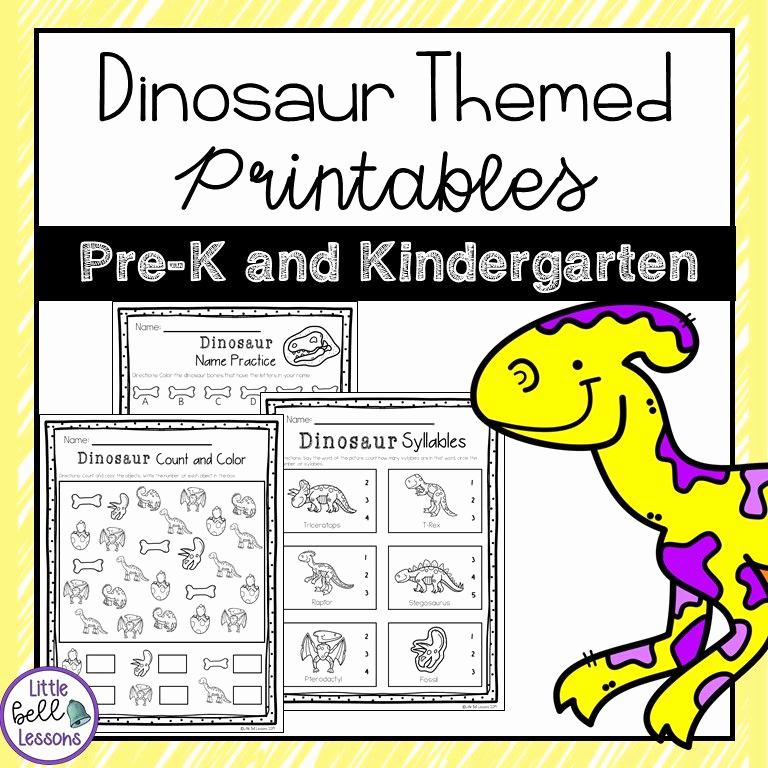 Dinosaur Worksheets for Kindergarten Fresh Dinosaur themed Printables Worksheets for Prek