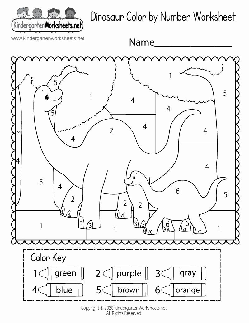 Dinosaur Worksheets for Kindergarten Inspirational Dinosaur Color by Number Worksheet for Kindergarten Free