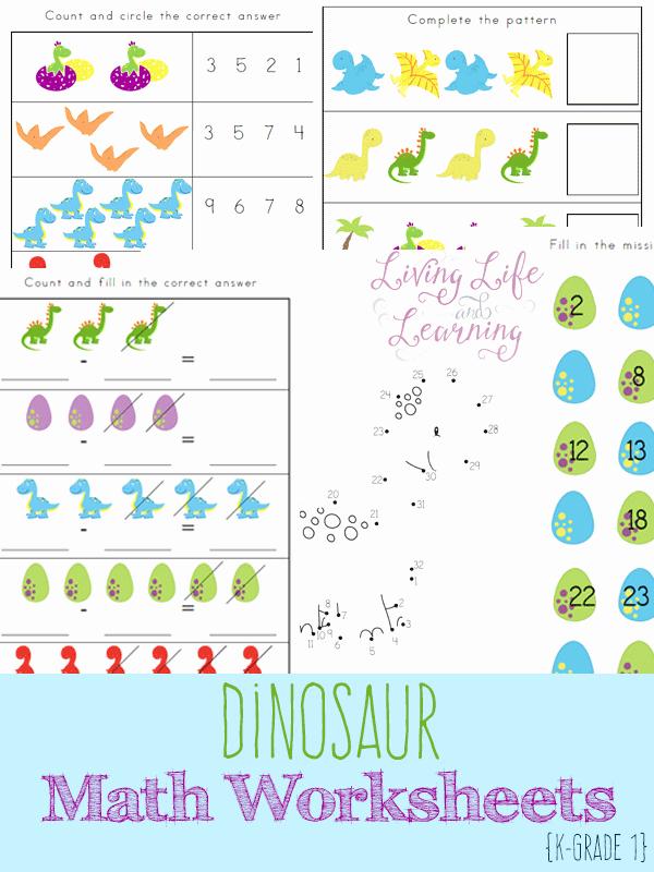 Dinosaur Worksheets for Kindergarten Inspirational Free Dinosaur Kindergarten Math Worksheets Money Saving Mom