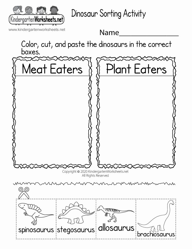 Dinosaur Worksheets for Kindergarten Inspirational Printable Dinosaur Worksheet Free Kindergarten Learning
