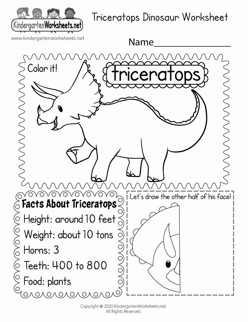 Dinosaur Worksheets for Kindergarten Luxury Dinosaur Worksheet Free Kindergarten Learning Worksheet