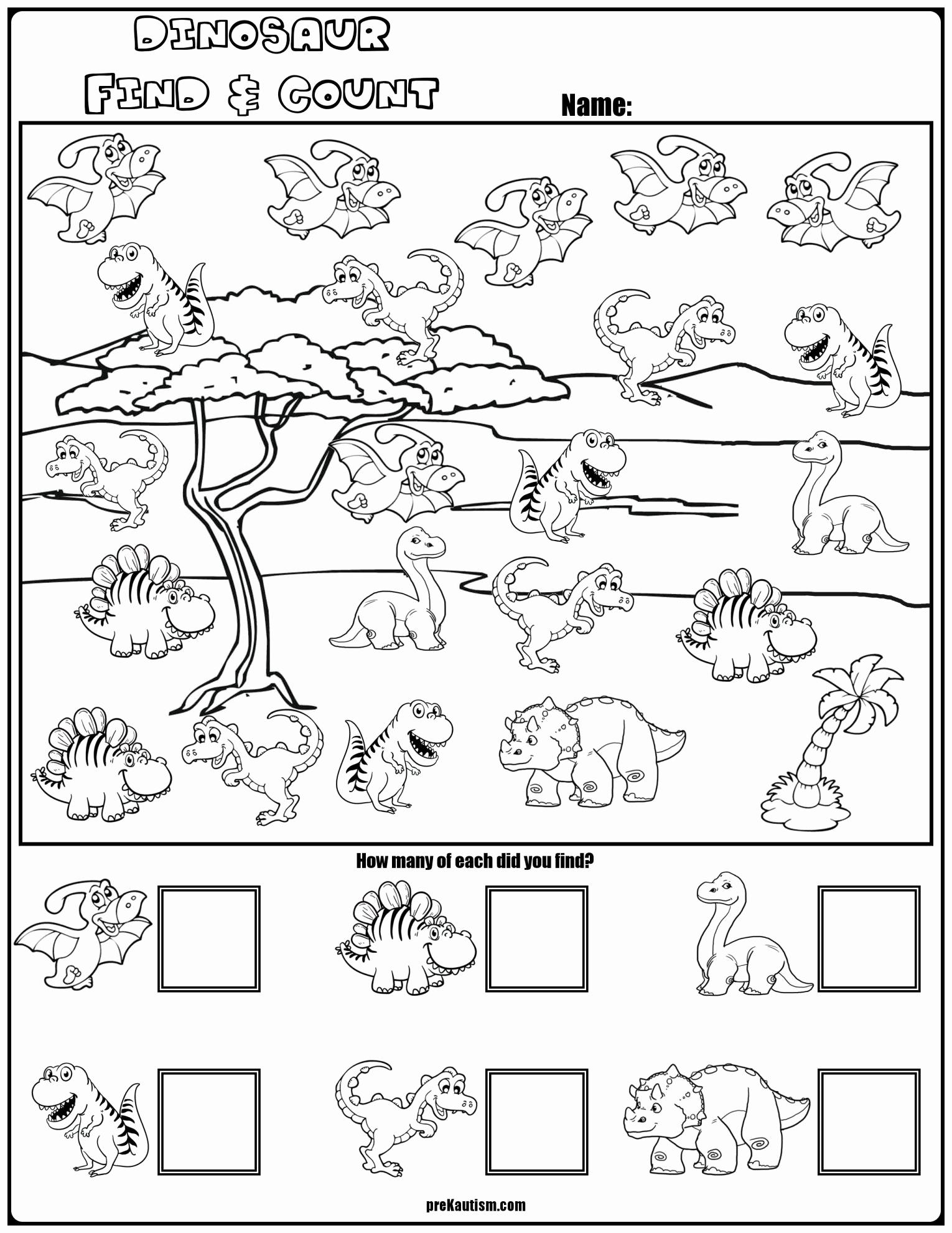 Dinosaur Worksheets for Kindergarten Unique Dinosaurs Worksheet Kindergarten and Find & Count Dinosaur