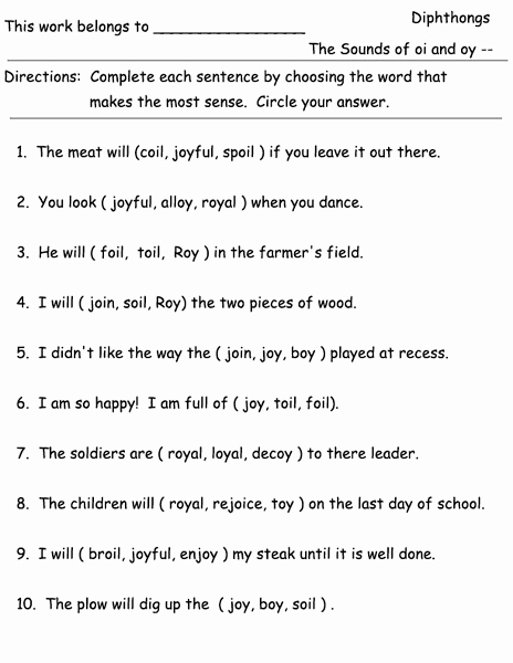 Diphthong Oi Oy Worksheets Elegant Diphthongs Oi and Oy Worksheet for 1st Grade