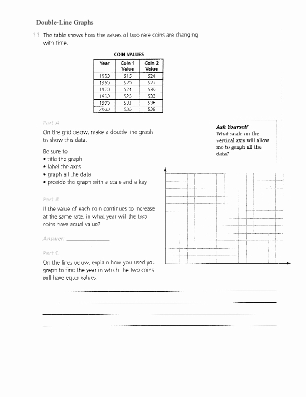 Double Line Graph Worksheets New Double Line Graphs Worksheet for 6th 12th Grade