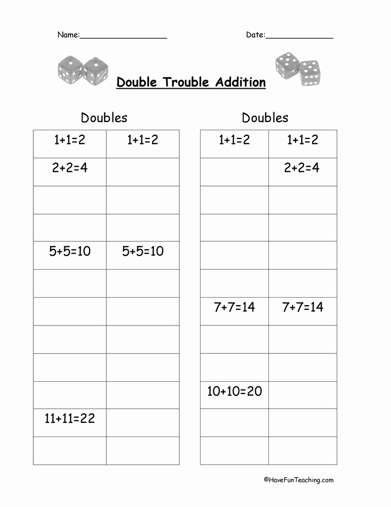 Doubles Addition Worksheet Elegant Adding Doubles Worksheet • Have Fun Teaching