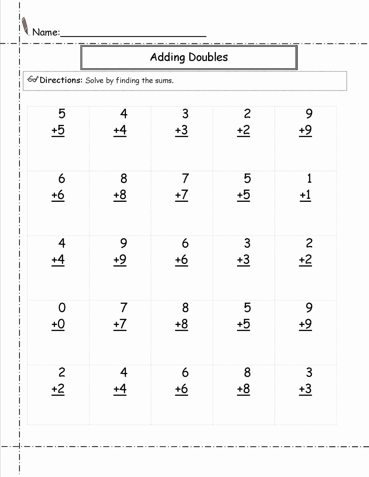 Doubles Addition Worksheet Elegant Professionally 20 Doubles Addition Facts Worksheets