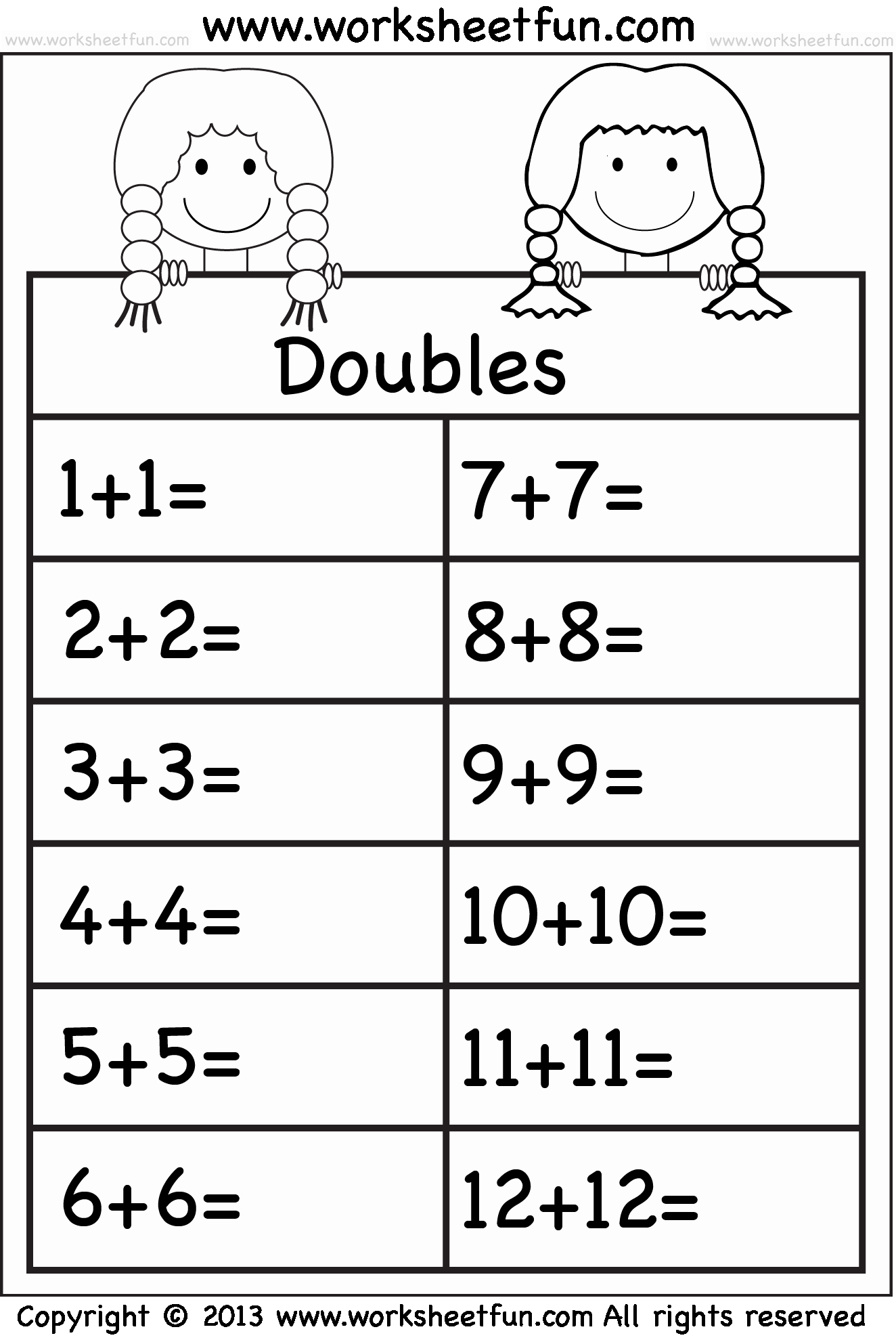Doubles Math Facts Worksheet Luxury Addition Doubles – 1 Worksheet Free Printable Worksheets