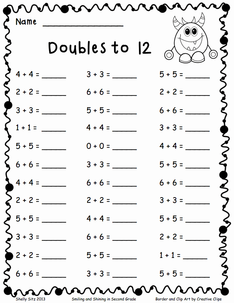 Doubles Math Facts Worksheet New Doubles to 12 Pdf Add and Subtract Pinterest