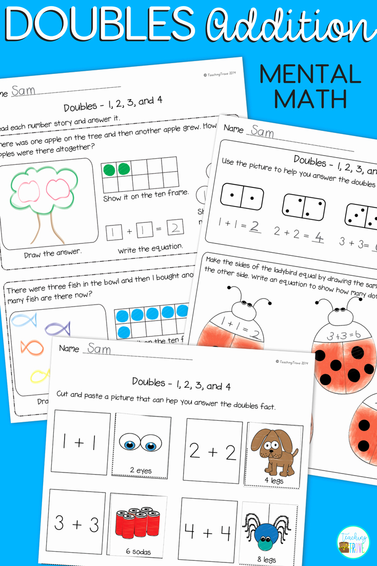 Doubles Math Facts Worksheet Unique Doubles Facts Worksheets Posters and Games with Images