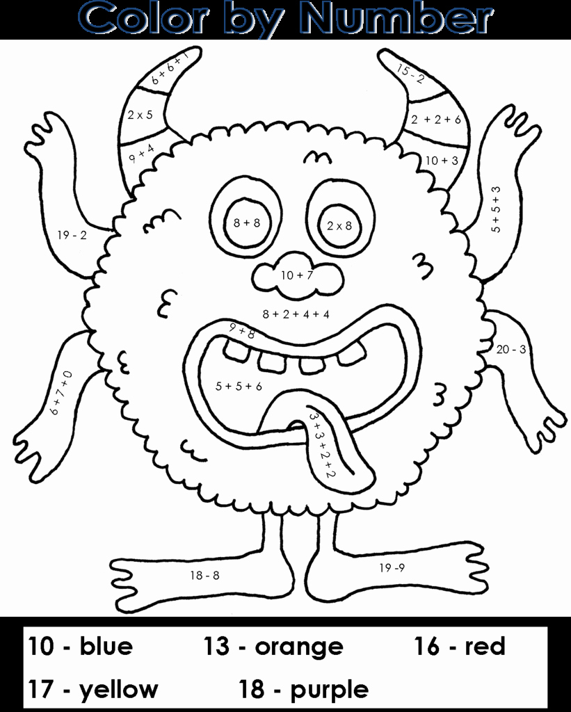 Easy Color by Number Worksheets Awesome Coloring Pages Easy Color by Number Printables My Color