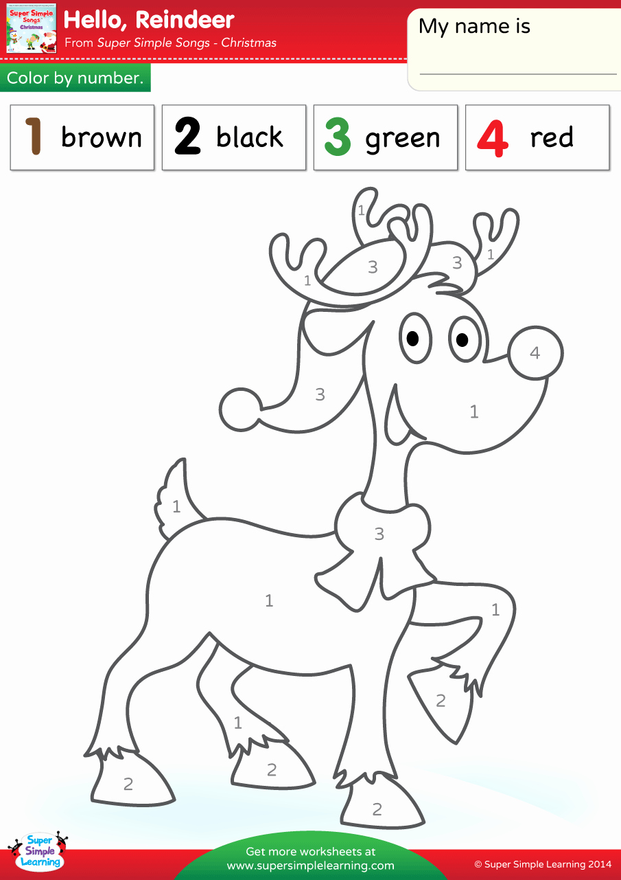 Easy Color by Number Worksheets Beautiful Hello Reindeer Worksheet – Color by Number