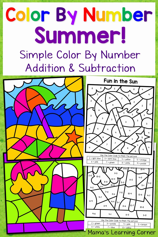 Easy Color by Number Worksheets Fresh Summer Color by Number Worksheets with Simple Numbers Plus