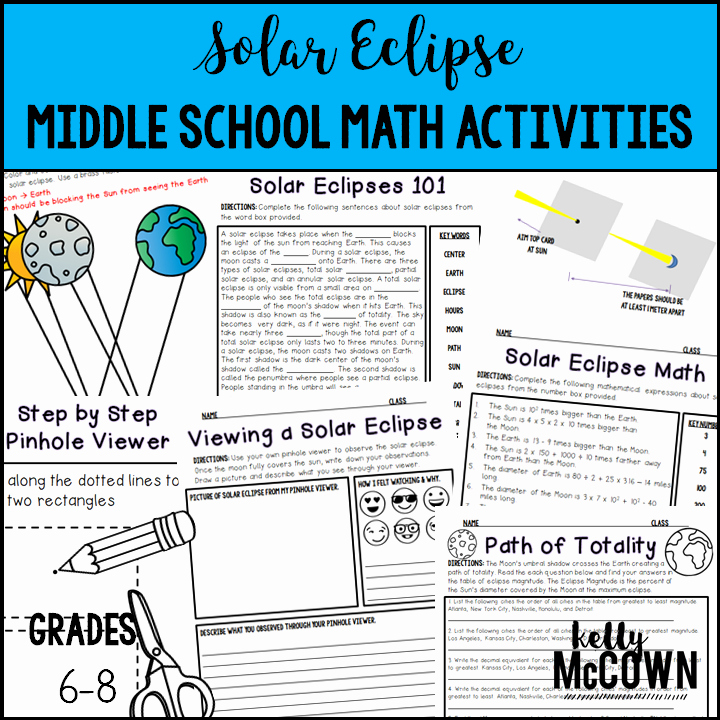Eclipse Worksheets for Middle School Awesome solar Eclipse Math for August 21 2017