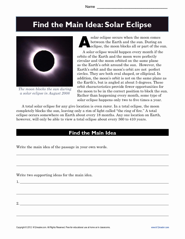 Eclipse Worksheets for Middle School Lovely 19 Eclipse Worksheets for Elementary School Kidworksheet