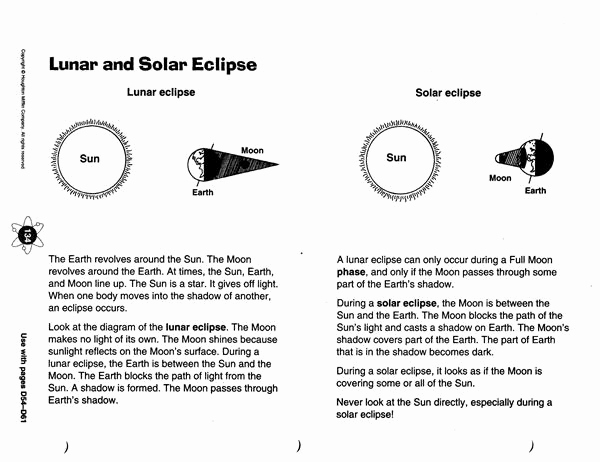 Eclipse Worksheets for Middle School Lovely Zola D solar and Lunar Eclipses