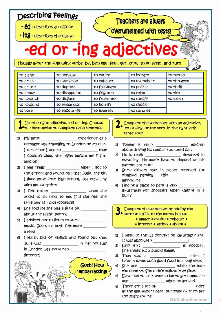 Ed and Ing Worksheets Beautiful Adjectives Ending In Ed or Ing Worksheet Free Esl
