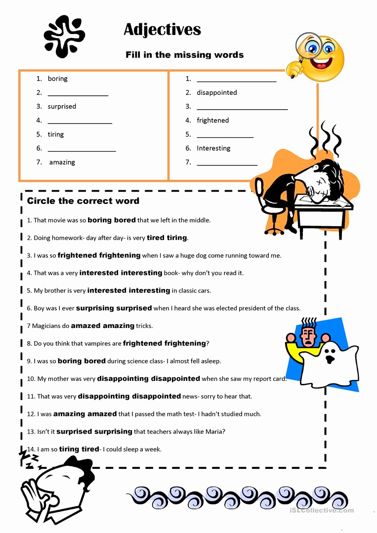 Ed and Ing Worksheets Beautiful Adjectives is It Ed or Ing for Oxford Quest 2 Unit 5