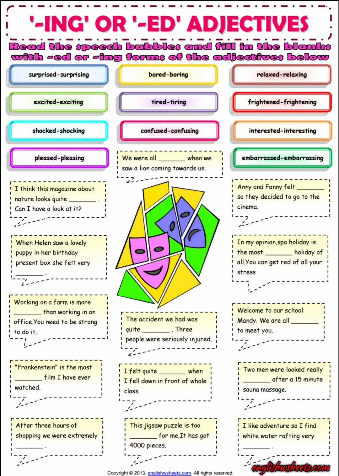 Ed and Ing Worksheets Best Of Ing or Ed Adjectives Esl Grammar Exercise Worksheet
