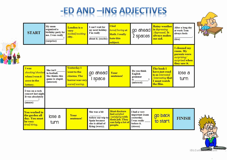 Ed and Ing Worksheets Elegant Ed Ing Adjectives Board Game English Esl Worksheets
