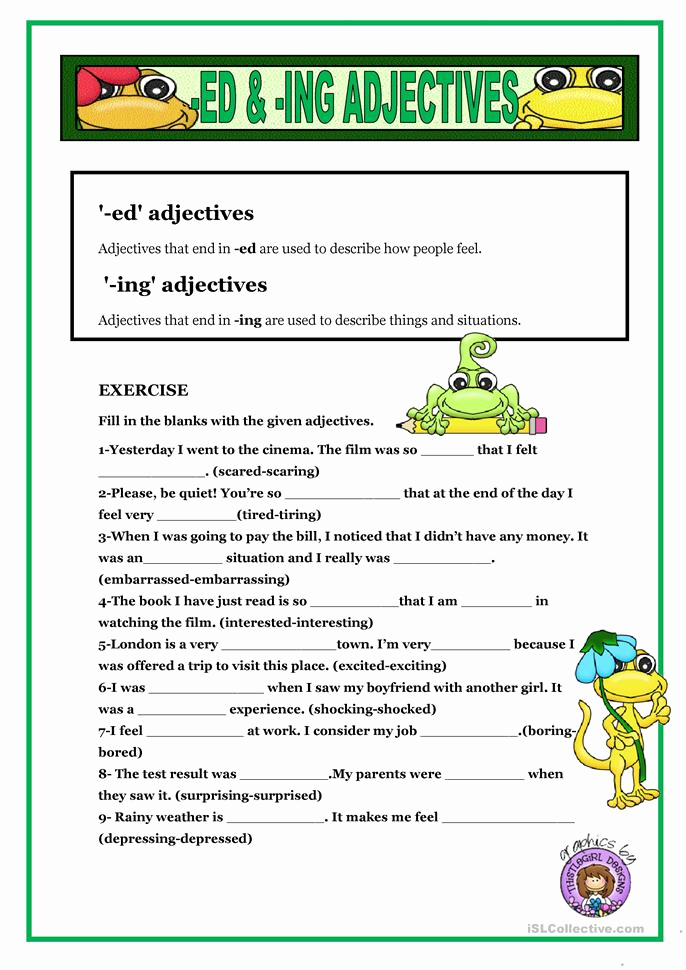Ed and Ing Worksheets Inspirational Ed & Ing Adjectives Worksheet Free Esl Printable