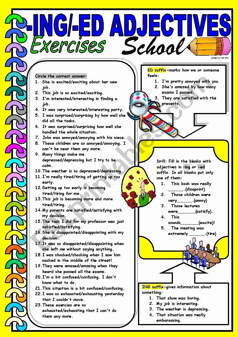Ed and Ing Worksheets Inspirational Ing Ed Adjectives Esl Worksheet by Dackala