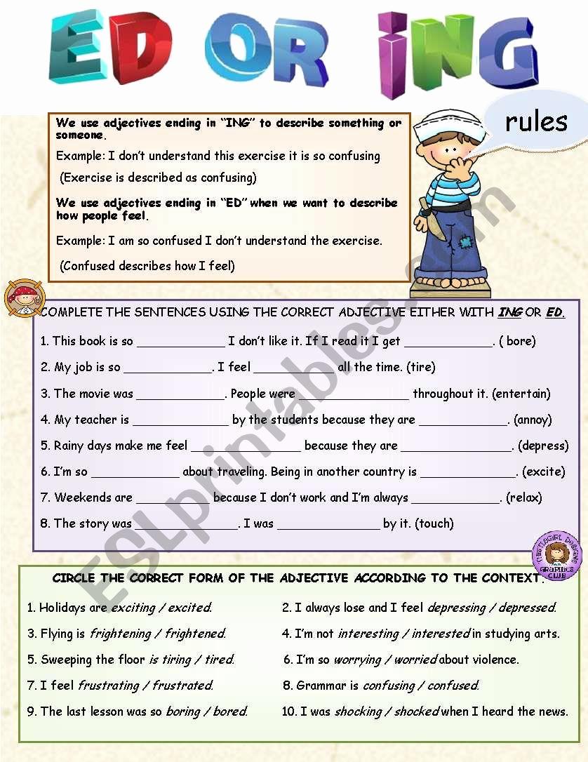 Ed and Ing Worksheets Luxury Adjective Ed or Ing Esl Worksheet by Lilianamontoya13
