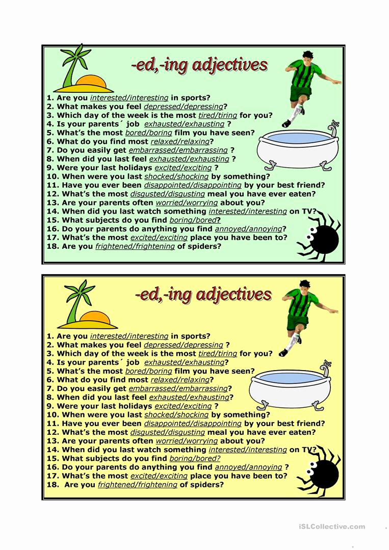 Ed and Ing Worksheets Luxury Ed Ing Adjectives English Esl Worksheets for