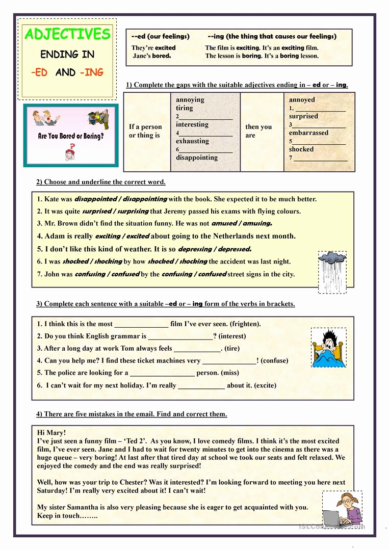 Ed and Ing Worksheets Unique Adjectives Ending In Ed and Ing Exercises English