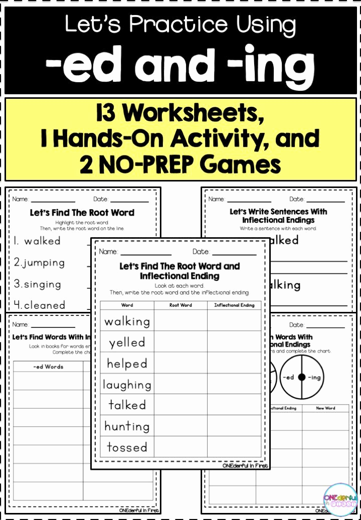 Ed and Ing Worksheets Unique Inflectional Endings Ed and Ing Worksheets Games