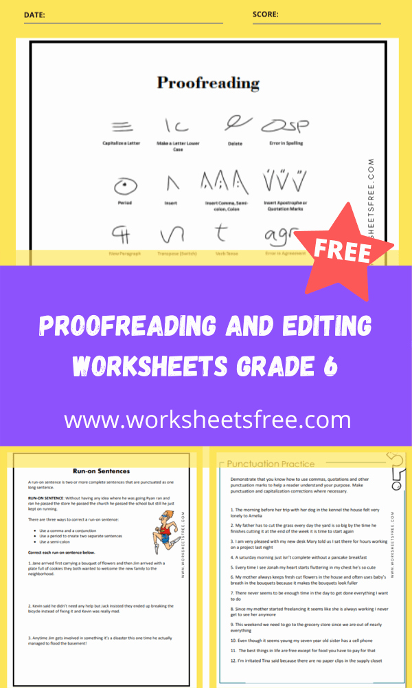 Editing and Proofreading Worksheets Elegant Proofreading and Editing Worksheets Grade 6 Grade 6
